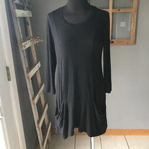 LOGO Lori Goldstein Black Rayon Knit Pocket Tunic